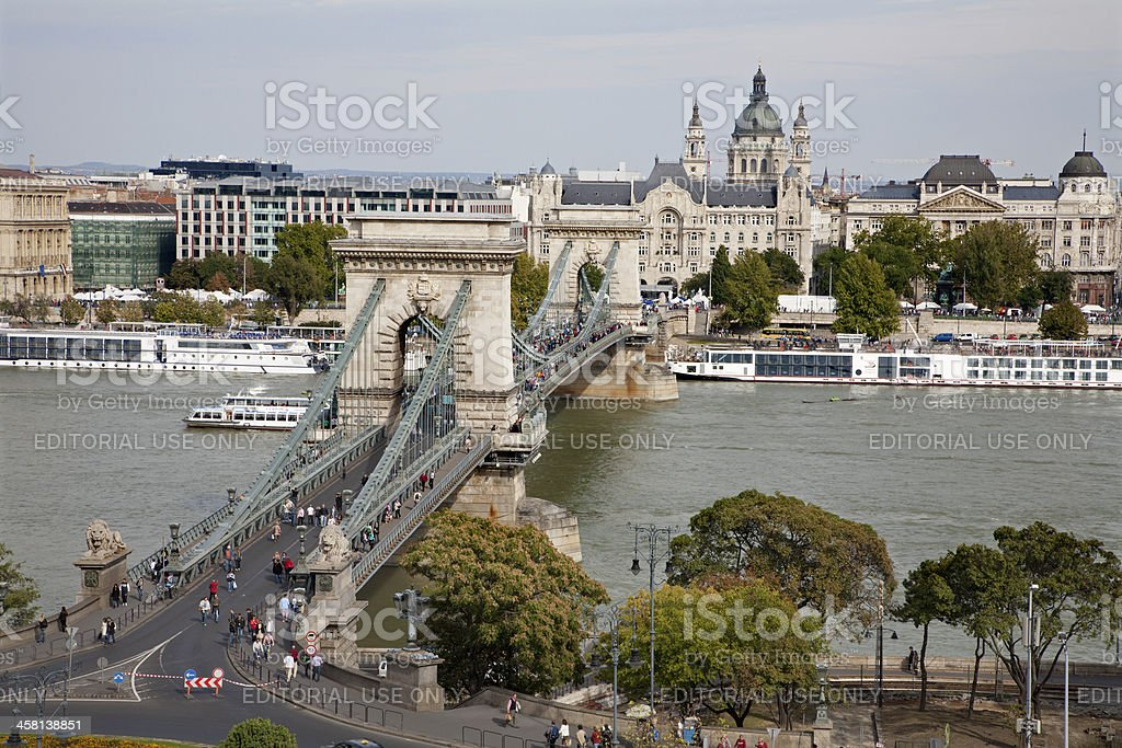 Budapest - Chain bridge and st. Stephen cathedral royalty-free stock photo