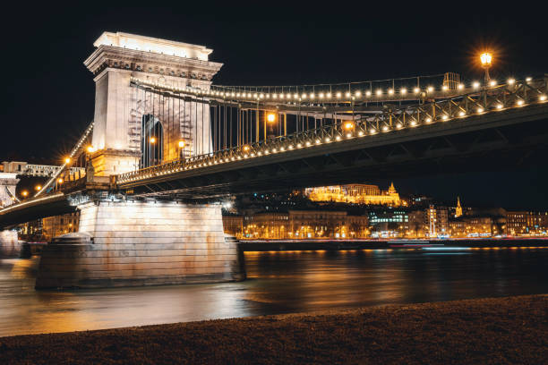 Budapest Chain Bridge in the Night stock photo