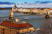 Image of view of Budapest Chain Bridge over Danube and Hungarian Parliament