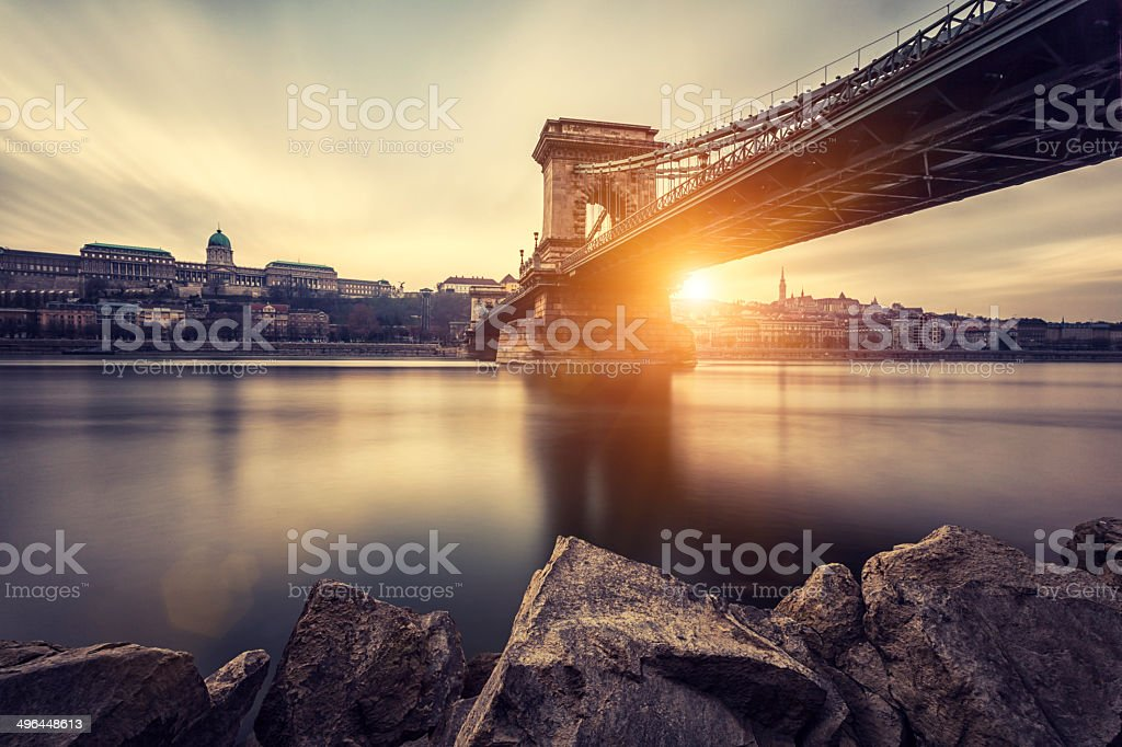 Budapest Chain Bridge stock photo