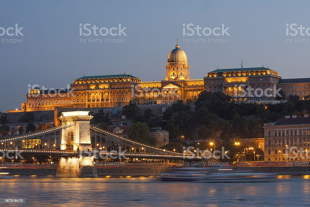 Budapest Chain Bridge, Royal Palace and Danube royalty-free stock photo