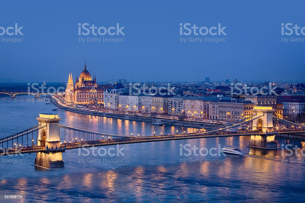 Budapest - Chain Bridge with hungarian parliament at dusk, Hungary stock photo
