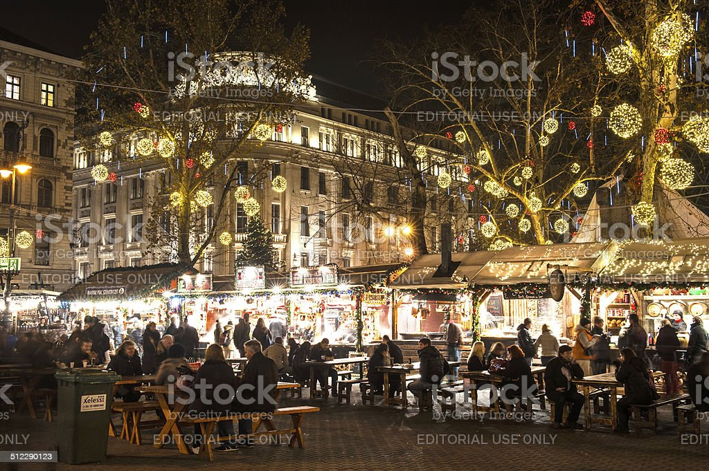 Budapest Christmas market at Vorosmarty square stock photo