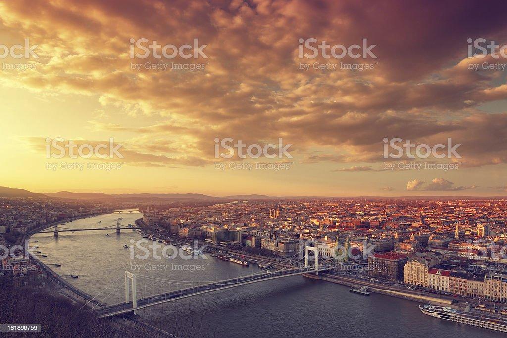 Budapest cityscape at sunset royalty-free stock photo