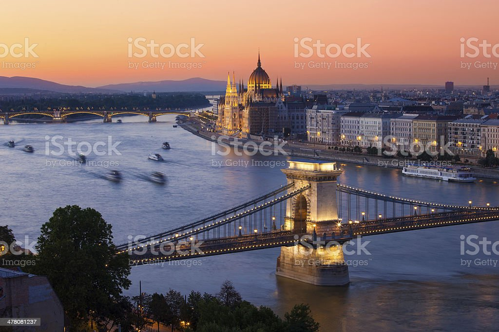 Budapest cityscape sunset with Chain Bridge and Parliament Building royalty-free stock photo
