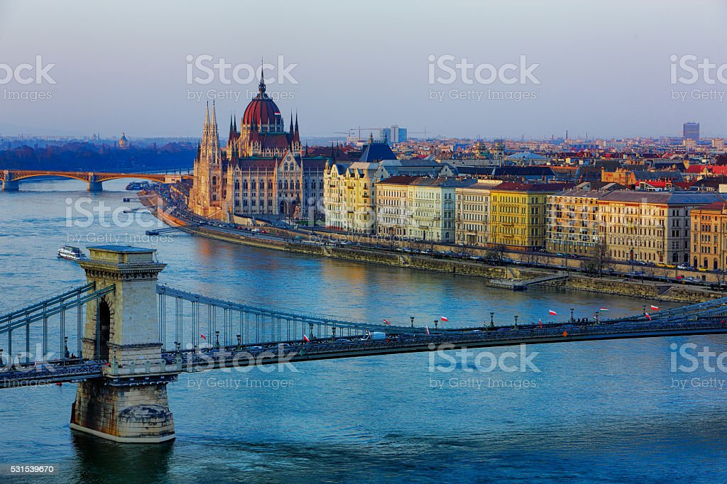 Budapest cityscape with Chain Bridge and Hungarian Parliament with Danube river stock photo
