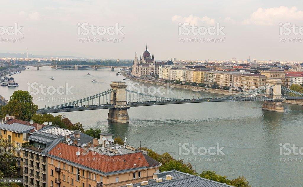 Budapest cityscape with Chain Bridge, Parliament Building and Danube River stock photo