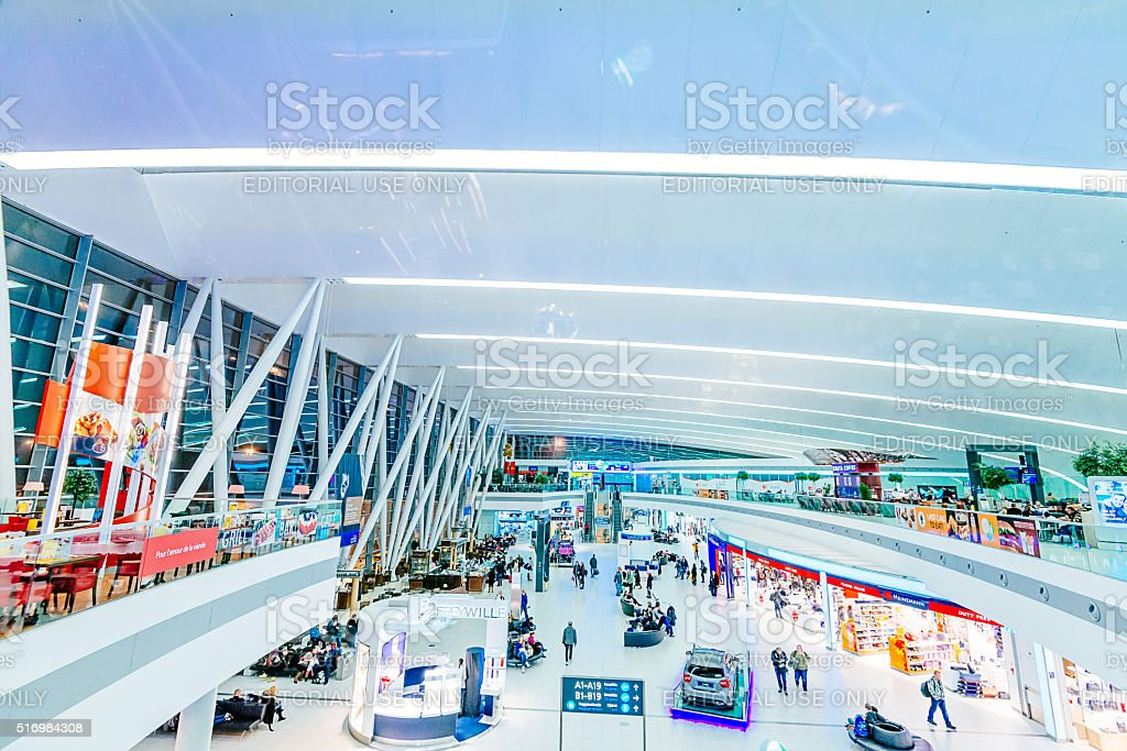 Budapest Ferenz Liszt Airport new building and duty free shops stock photo