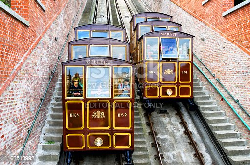Castle Hill Funicular tramways connecting the banks of River Danube and the Buda Castle has been in service since 1870, Budapest, Hungary
