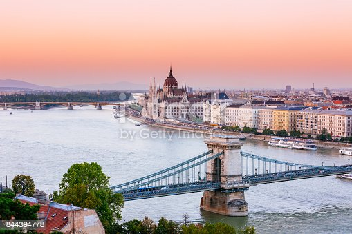 Hungarian parliament in sunset. View from the Buda castle.