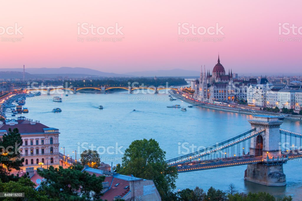 Budapest, Hungarian parliament in sunset stock photo
