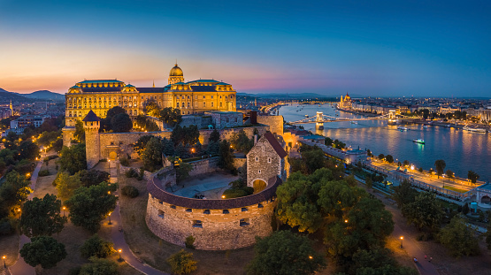 Budapest, Hungary - Aerial panoramic skyline view of Budapest with Szechenyi Chain Bridge and Buda district at blue hour