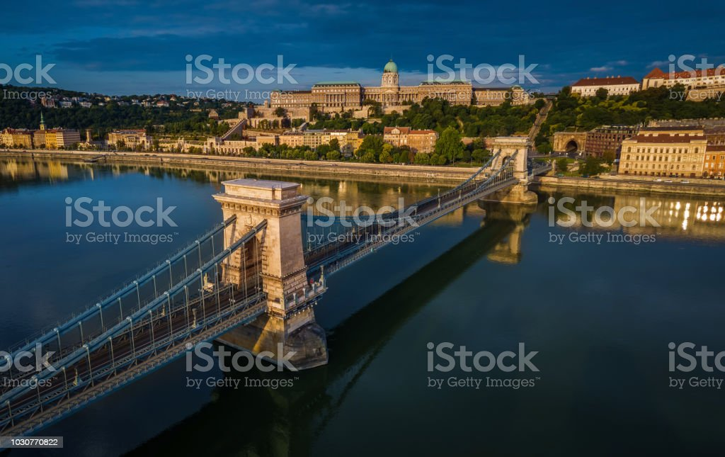 Budapest, Hungary - Aerial panoramic view of Szechenyi Chain Bridge with Buda Castle Royal Palace at background stock photo