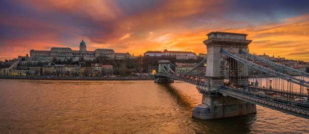 Budapest, Hungary - Aerial panoramic view of Szechenyi Chain Bridge with Buda Tunnel and Buda Castle Royal Palace stock photo