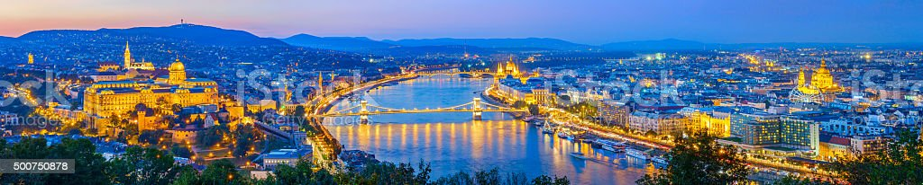 Budapest Hungary and the Danube at Night stock photo