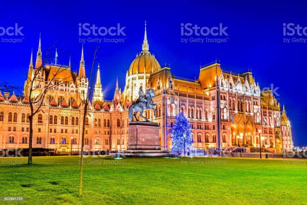 Budapest, Hungary - Hungarian Parliament Building and Danube River stock photo