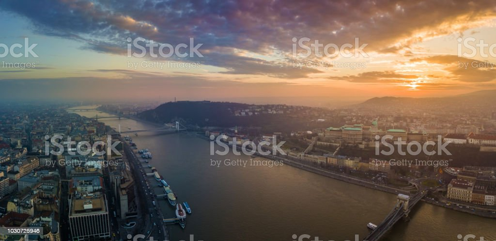 Budapest, Hungary - Panoramic aerial view of Buda Castle Royal Palace, Varkert Bazar, Gellert Hill with Citadella and Statue of Liberty stock photo
