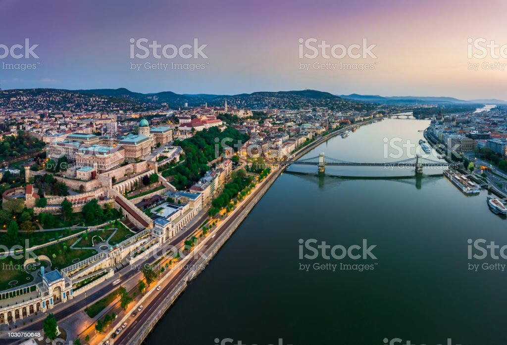 Budapest, Hungary - Panoramic aerial view of Budapest. This view includes Buda Castle Royal Palace, Matthias Church, Fisherman's Bastion stock photo