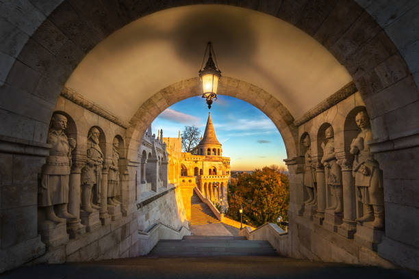 Budapest, Hungary - South entrance of Buda district at sunrise with autumn foliage stock photo