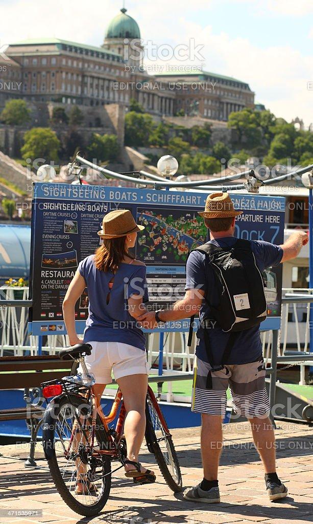 Budapest, Hungary, tourist couple before Buda Castle royalty-free stock photo