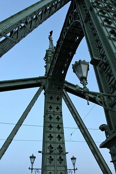 budapest - liberty bridge  detail budapest - liberty bridge - detail liberty bridge budapest stock pictures, royalty-free photos & images