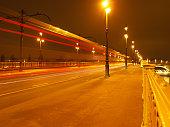 Budapest Margaret Bridge at night, long exposure, Hungary.