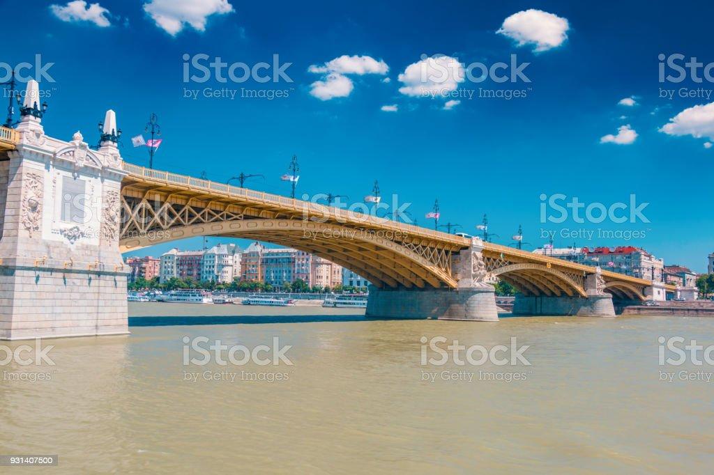Budapest Margaret bridge stock photo