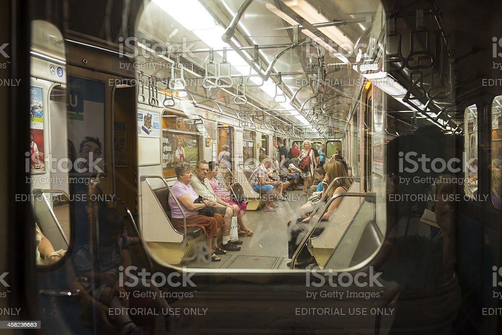 Budapest metro and passengers royalty-free stock photo