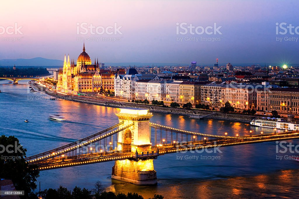 Budapest night lights stock photo