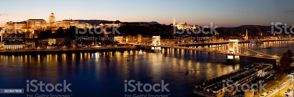 Budapest night panorama stock photo