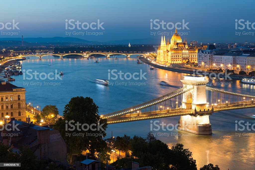 Budapest night panorama royalty-free stock photo