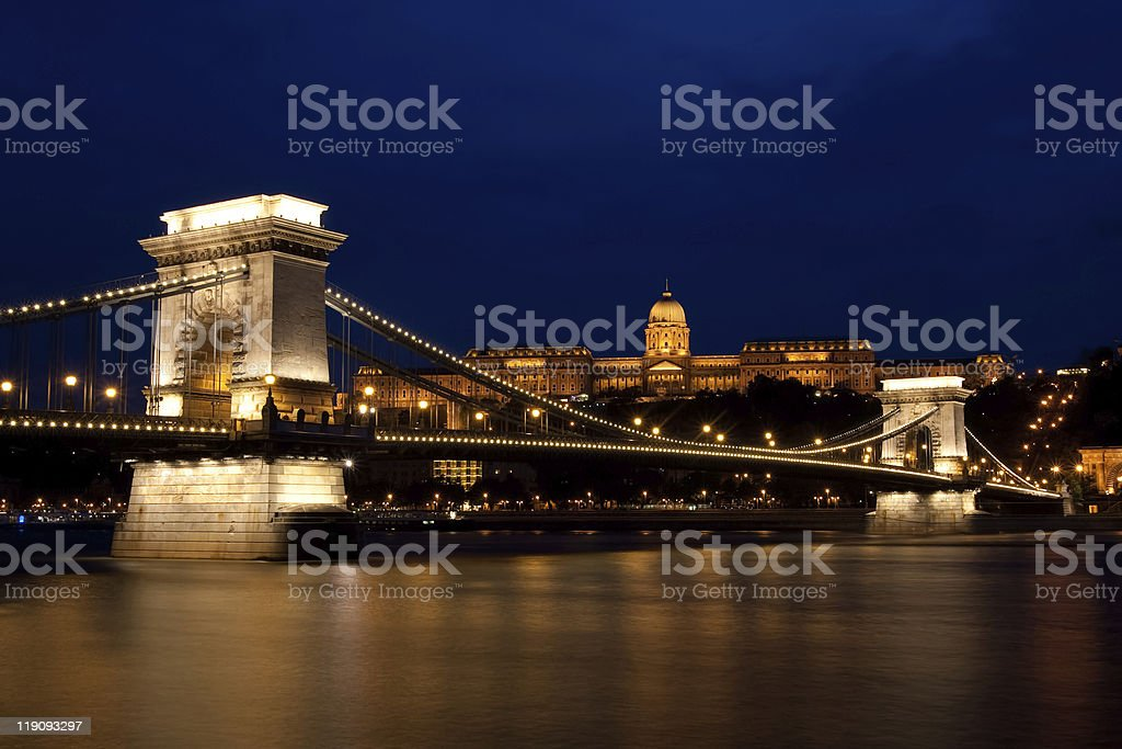 Budapest night shot with chain bridge and royal palace royalty-free stock photo