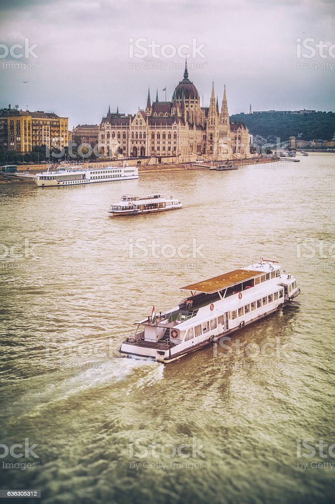 budapest Országház parliament hungary vertical river ship wave danube stock photo