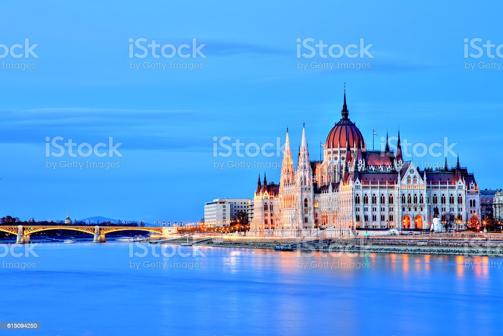 Budapest Parliament at Dusk, Hungary stock photo