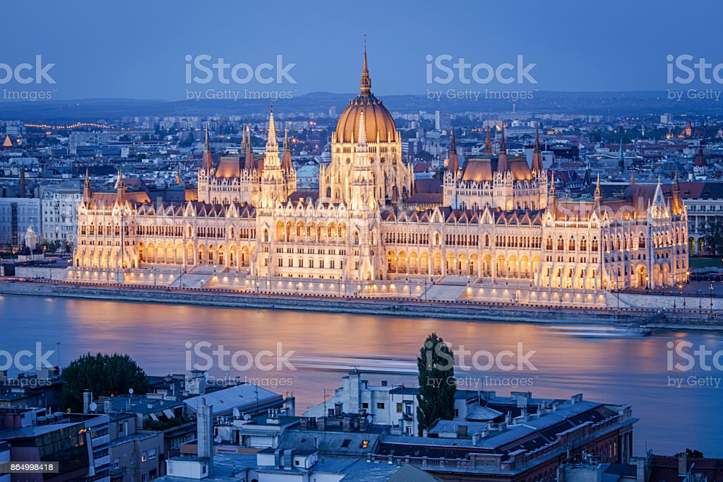 Budapest Parliament at night stock photo
