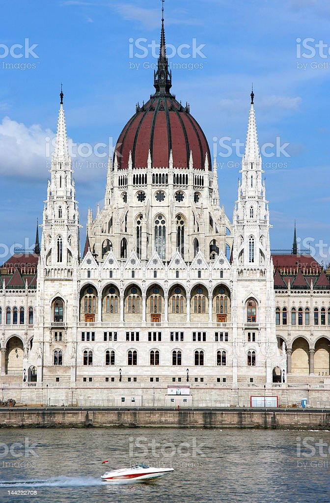 Budapest Parliament Building from Danube royalty-free stock photo