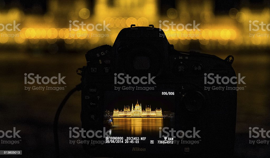 Budapest Parliament on the back of a camera stock photo