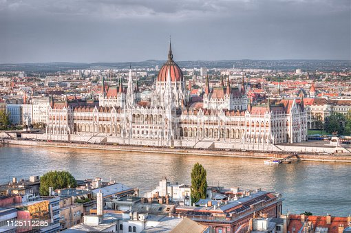 Budapest Parliament, Hungary. The Parliament building on the Danube river in Budapest, Hungary. Budapest is a large european city and the Hungarian capital with more than 1,7 million inhabitants