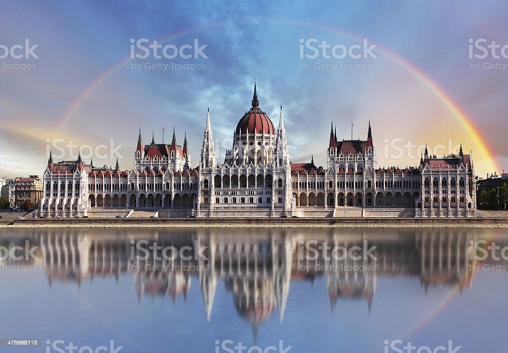 Budapest - Parliament.with reflection in Danube stock photo
