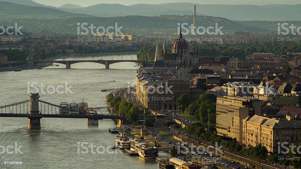 Budapest promenade at sunset stock photo