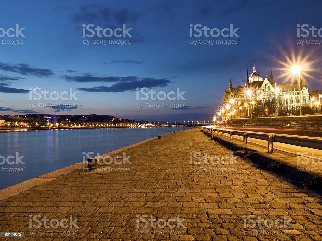 Budapest Riverfront by Night royalty-free stock photo