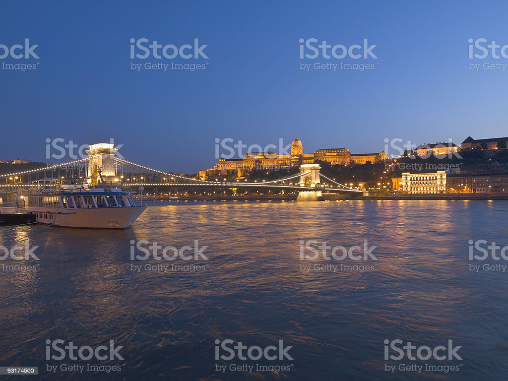 Budapest - Royal Palace and Chain Bridge at Night royalty-free stock photo