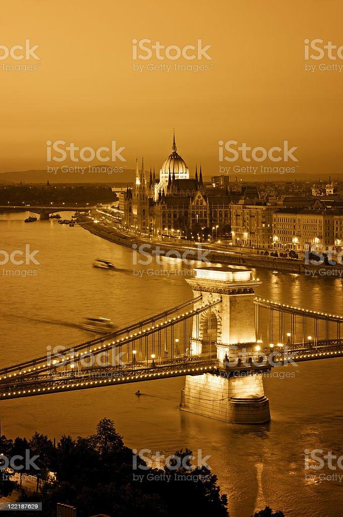 Budapest skyline at night. stock photo