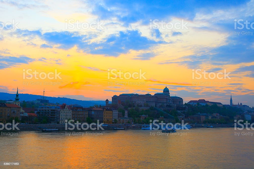 Budapest skyline from Danube River at sunset, Hungary stock photo