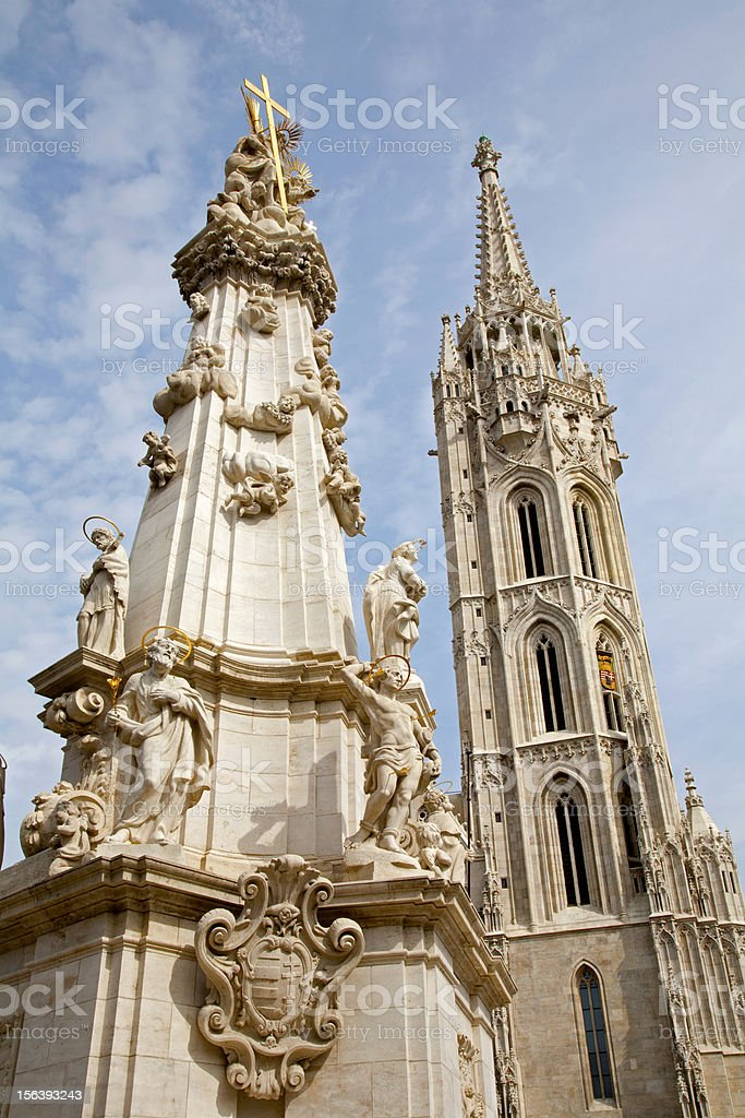 Budapest - St. Matthew's Cathedral and Trinity column royalty-free stock photo