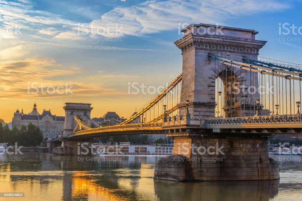 Budapest sunrise city skyline at Chain Bridge, Budapest, Hungary stock photo
