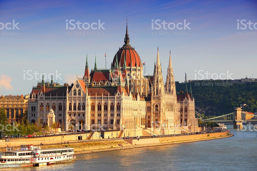 Budapest sunset stock photo
