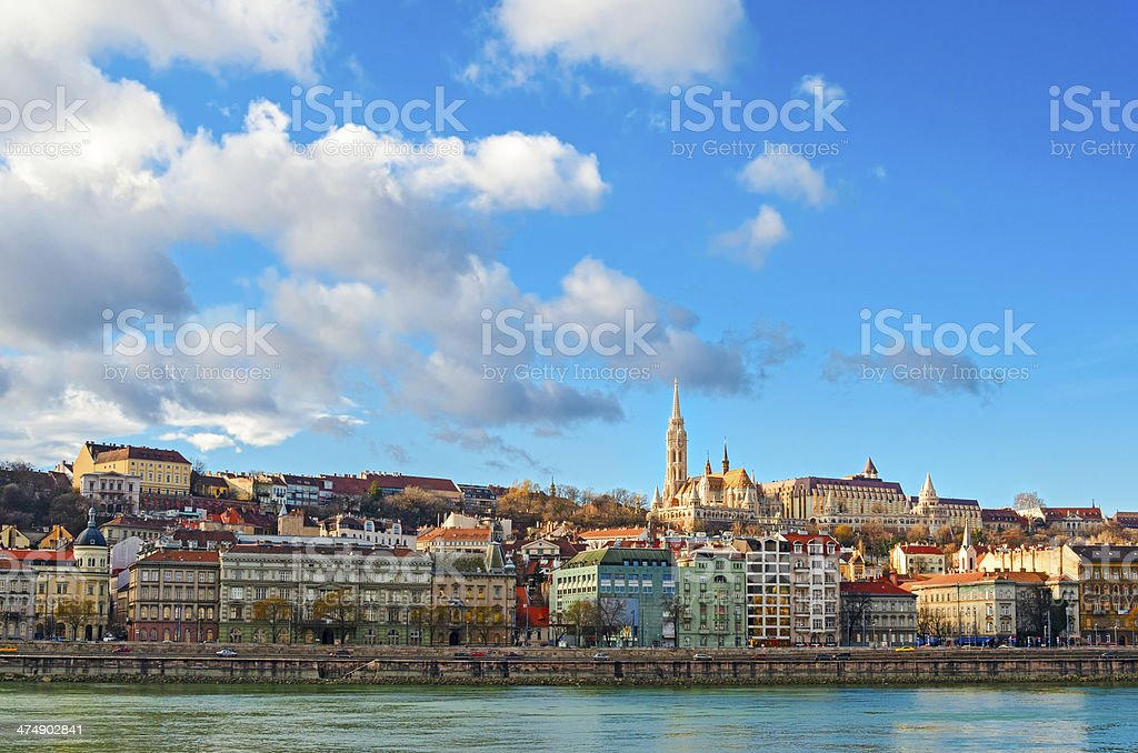 Budapest, view on Danube and Buda with Matthias Church stock photo