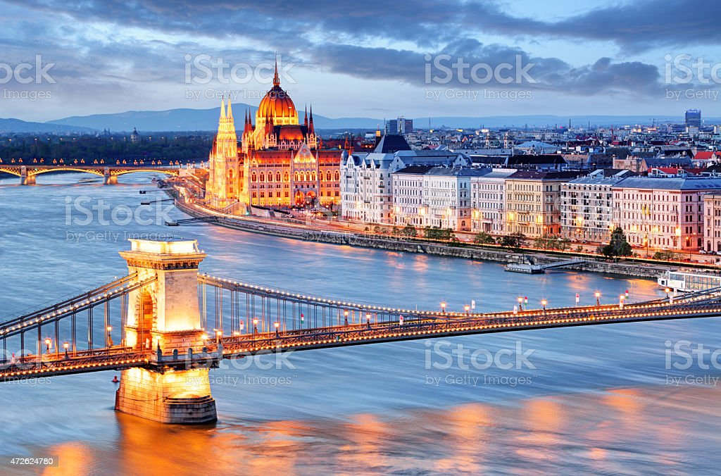 Budapest with chain bridge and parliament, Hungary stock photo