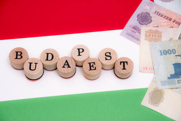 Budapest with forint currency on flag stock photo